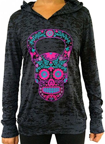 SoRock Women's Kettlebell Skull Burnout Hoodie XXLarge Black