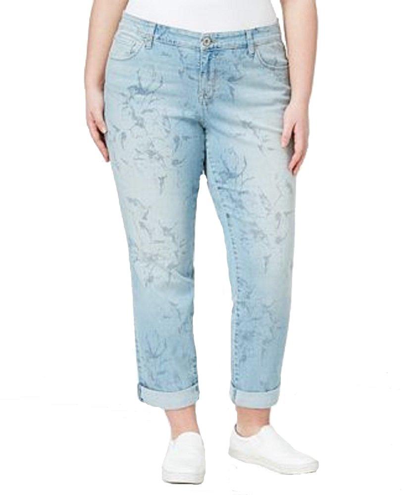 Style & Co. Womens Plus Floral Curvy Fit Boyfriend Jeans Blue 24W