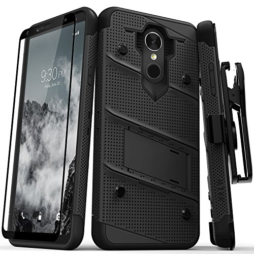 Zizo BOLT Series compatible with LG Stylo 4 Case Military Grade Drop Tested with Tempered Glass Screen Protector, Holster, Kickstand BLACK by Zizo