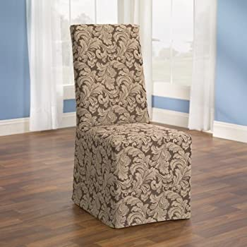 Sure Fit Scroll   Dining Room Chair Slipcover   Brown (SF36211)
