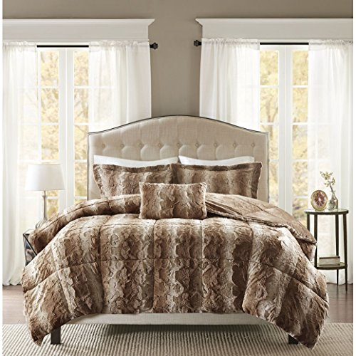 ng Size Bed Comforter Set - Tan, Animal – 4 Pieces Bedding Sets – Faux Fur Bedroom Comforters ()