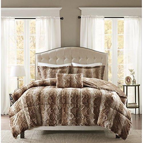- Madison Park Zuri King Size Bed Comforter Set - Tan, Animal - 4 Pieces Bedding Sets - Faux Fur Bedroom Comforters