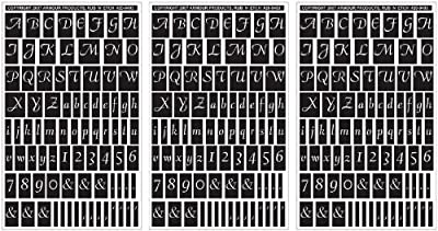"Armour Products Rub 'n' Etch Glass Etching Stencils 5""X8"" 3/Pkg Script Letters & Numbers 12-7032"