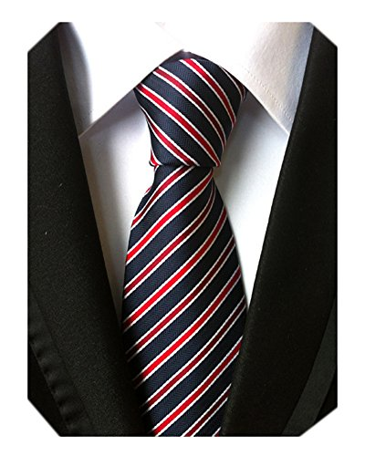 - Secdtie Men's Narrow Stripe Pattern Tie Navy Blue Red White Party Necktie TW06