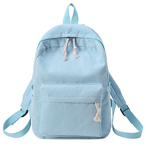 JAGENIE School Students Backpack Women Rucksack Green Girls Fashion Bags Blue Corduroy rqUBTrw