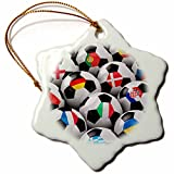 3dRose orn_155022_1 England Germany Portugal Spain, Italy and Other Country Flags on Soccer balls Snowflake Porcelain Ornament, 3-Inch