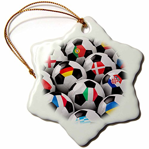 3dRose orn_155022_1 England Germany Portugal Spain, Italy and Other Country Flags on Soccer balls Snowflake Porcelain Ornament, 3-Inch by 3dRose