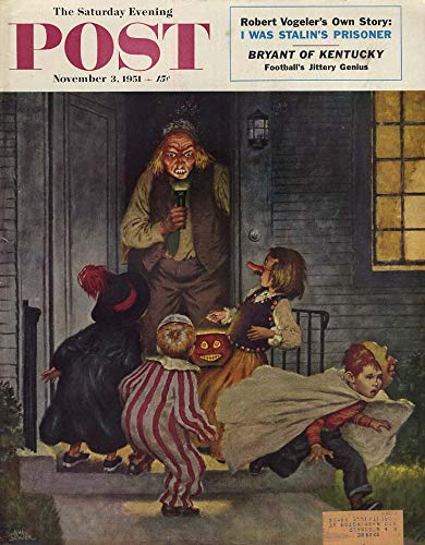 SATURDAY EVENING POST COVER 1951 man scares Halloween