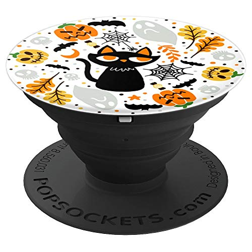 Colorful Halloween Background Pumpkin black cat Bat pattern PopSockets Grip and Stand for Phones and Tablets