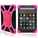 FINDING CASE for Amazon Kindle Fire 7 Alexa,(7' Tablet, 5th Gen 2015 and 7th Gen 2017 Release),Slim Soft Silicone Standing Cover Case with Magnet Also for other 7' AMAZON kindle Fire versions Hot pink