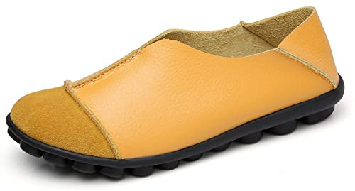 Yooeen Mocasines de Cuero Piel Mujer Moda Planos Zapatos del Barco Los Cómodos Zapatos de Conducción Casual/Suela Exterior con Función de Masaje: Amazon.es: ...