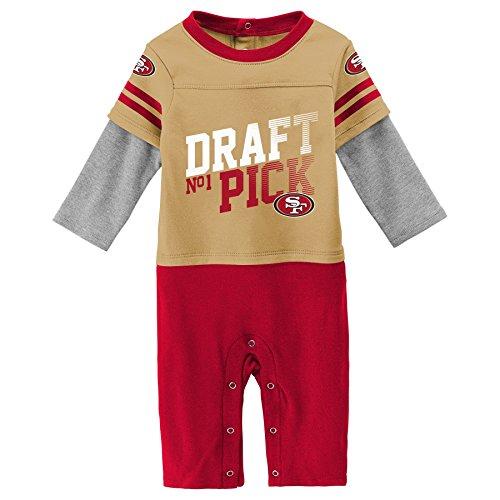 Outerstuff NFL San Francisco 49ers Newborn & Infant Draft Pick Long Sleeve Coverall Minn Tan, 24 Months