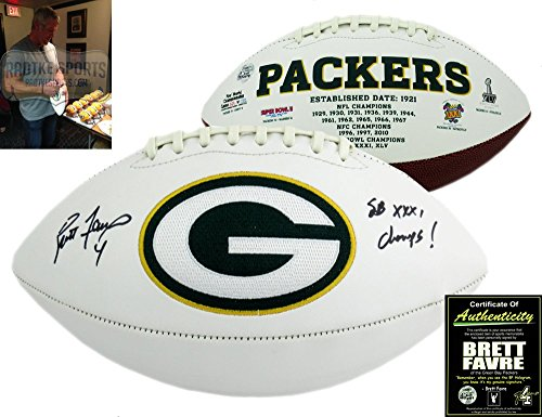 Brett Favre Autographed/Signed Green Bay Packers NFL Logo Football with