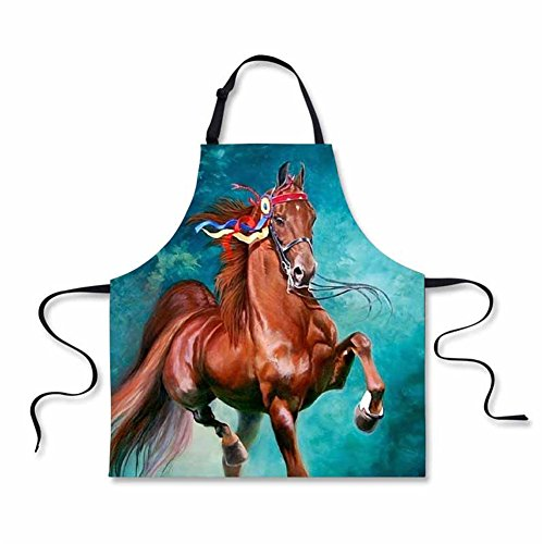 (Showudesigns Crazy Horse Kitchen Cooking Aprons for Men Women Checf Teen Boys Girls Baking, BBQ, Party Apron, Drawing Apron Blue)