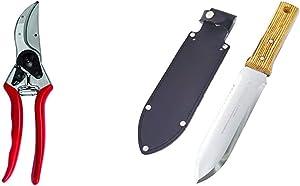 "Felco F-2 068780 Classic Manual Hand Pruner, F 2 & Nisaku NJP650 Hori-Hori Weeding & Digging Knife, Authentic Tomita (Est. 1960) Japanese Stainless Steel, 7.25"" Blade, Wood Handle"