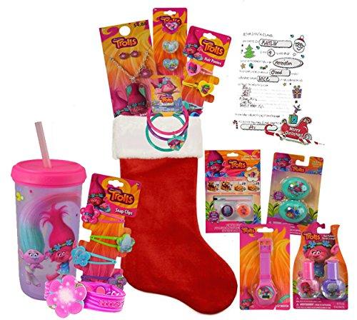 "Dreamwork Trolls Girl's All Inclusive 12pc Pre-Filled Christmas Stocking! Plus Bonus ""Letter To Santa!"""