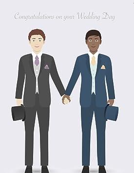 Gay Handsome Grooms (Interracial Couple) - gay wedding card - gay ...