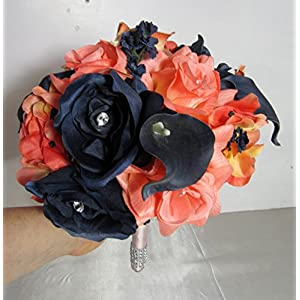 Coral Navy Blue Rhinestone Rose Calla Lily Bridal Wedding Bouquet & Boutonniere 7