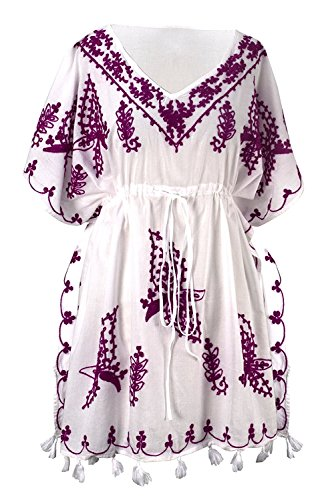 - Peach Couture Summer Womens Boho Cotton Floral Embroidered Cover-up Beachwear Kaftan Tunic White Purple