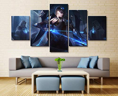 sansiwu 5 Panel League of Legends Ashe Game Canvas Printed Painting for Living Wall Art Home Decor Hd Picture Artworks Poster Framed