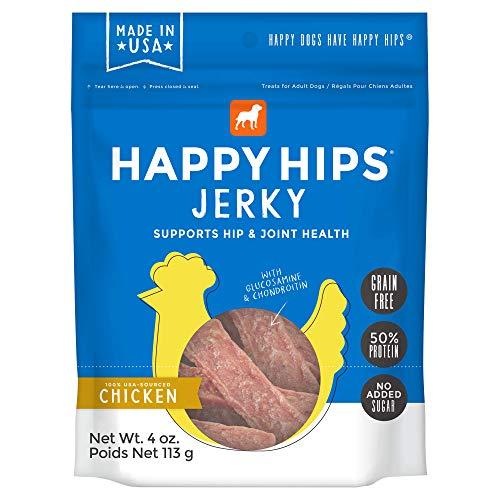 Happy Hips Chicken Jerky, Grain Free Dog Treats with Glucosamine & Chondroitin, Made in USA, 4 oz