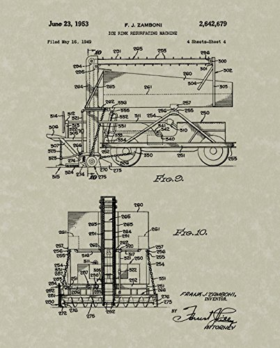 Zamboni Patent Art Wall Hanging | Hockey Print Art for sale  Delivered anywhere in USA