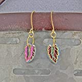 chaujewl Handmade Earrings Leaf Earrings Vintage Iridescent Czech Glass Pressed Leaf Bead Gold Hooks Ear Wires Oscarcrow