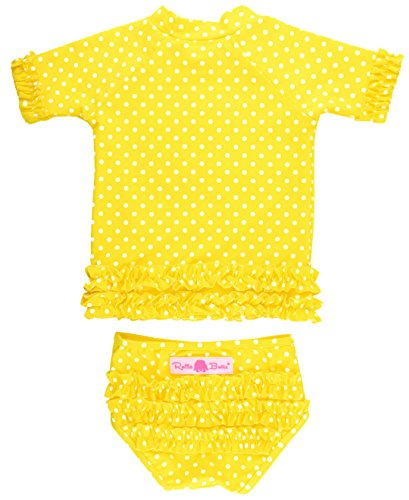 RuffleButts Little Girls Yellow Polka Dot Ruffled Rash Guard Bikini - Yellow - 3T (3t Bikini Bottom)