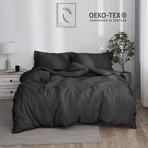 Simple&Opulence 100% Stone Washed Linen Solid Color Basic Style King Queen Twin Full Duvet Cover Sets (Dark Grey, Queen) (100 Linen Bedding)