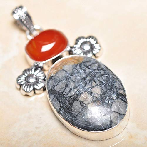 Handmade Natural Ocean Jasper Gemstone 925 Sterling Silver Pendant 2.5#KS-8224 ()