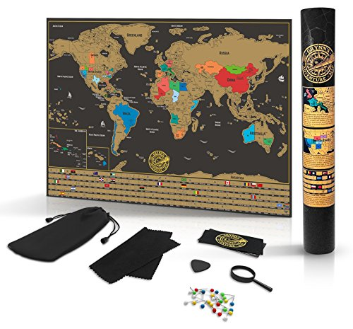 Scratch Off World Map Poster- Detailed Black & Gold Brown Travel Tracker Deluxe Edition Traveler Gift Set - Wall Art with Flags, Magnified Caribbean View & United States Outlined by - To How Scratches Off Take