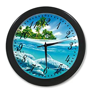 Home Decoration Living Room Decal Wall Clock Smart Dolphins Jump And Swim In Blue