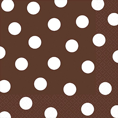 amscan Chocolate Brown Dots Luncheon Napkins | 6'' x 6'' | 192 Ct.