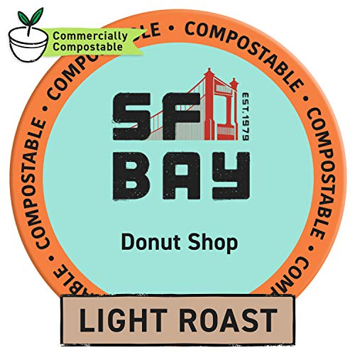 SF Bay Coffee Donut Shop 80 Ct Light Roast Compostable Coffee Pods, K Cup Compatible including Keurig 2.0 (Packaging May Vary)