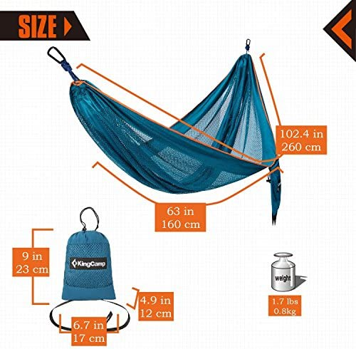 OUTFANDIA 4 in 1 Camping Hammock, 750lbs Capacity Double Person Iqammocking, Parachute 240T Portable Hammock, Waterproof Shelter, Lightweight Bed Tent for Backpacking Relaxation 120 L x 80W