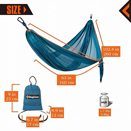 KingCamp Camping Hammock, Portable Mesh Hammock Breathable Lightweight Ice Silk Single Hammocks for Outdoor and Indoor, 330lbs Ultralight with 2 Tree Straps and Storage Bag Blue