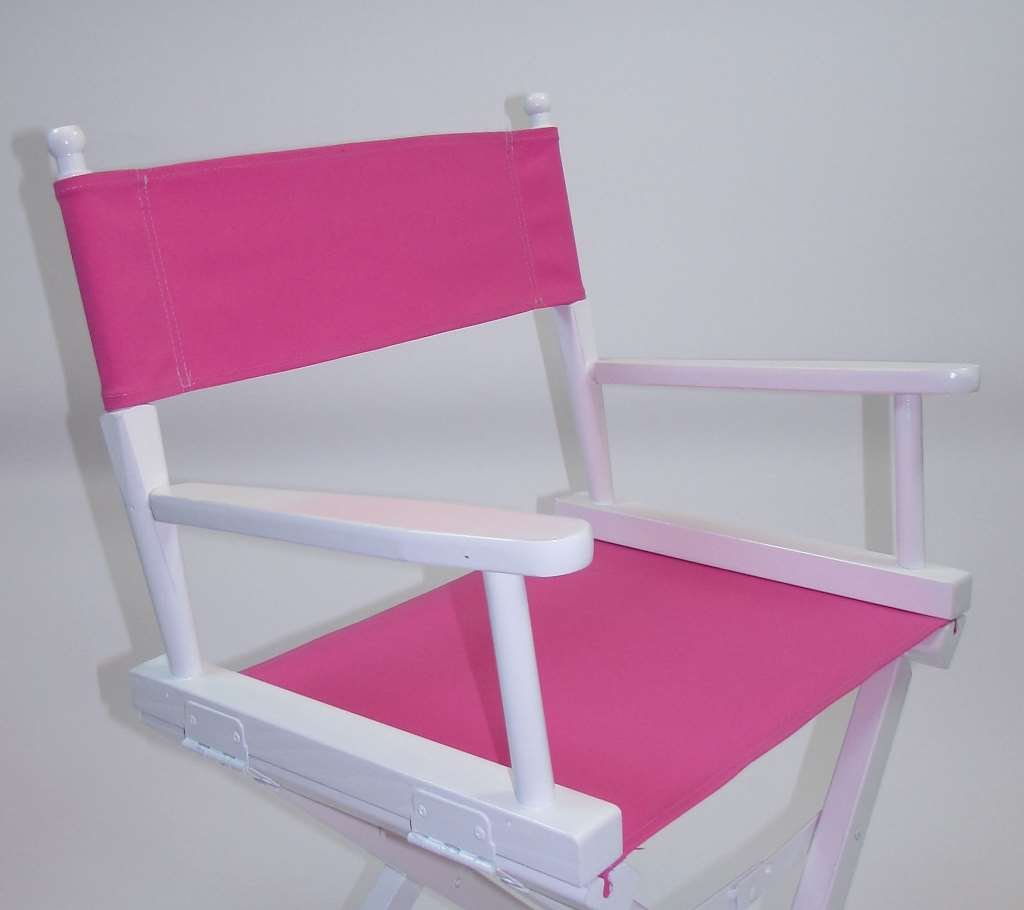 Gold Medal Contemporary 18'' Table Height White Frame Directors Chair - Pink
