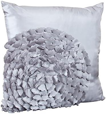 SARO LIFESTYLE 2495 Unique and Fun Flower Design Throw Pillow Insert, Heather