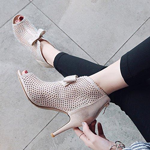 SHOESHAOGE Chaussures Femmes De Forage D'Eau Exposés Noeud Papillon Fil Net Bottes Froid Poisson Bouche Romaine Sandales À Talons Haut EU35/UK12 DEmeC