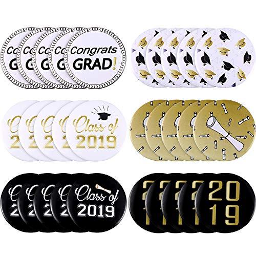 Norme 30 Pieces 2019 Graduation Pin Buttons Graduation Pinback Buttons Graduation Party Pin Badges for Graduation Party