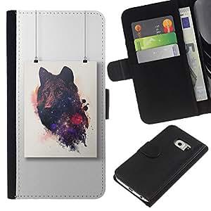 Lobo Dibujo Arte Pintura- la tarjeta de Crédito Slots PU Funda de cuero Monedero caso cubierta de piel Para Samsung Galaxy S6 EDGE (NOT S6)