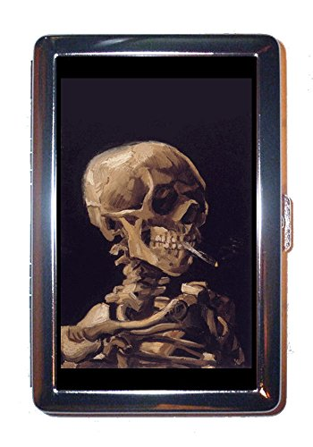 Vincent Van Gogh Skull with Burning Cigarette Stainless Steel ID or Cigarettes Case (King Size or 100mm) ()