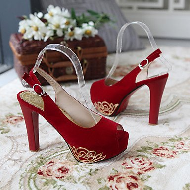 Mujer-Tacón Stiletto Plataforma-Plataforma Confort Zapatos del club-Tacones-Boda Fiesta y Noche Informal-Vellón-Negro Azul Rojo Beige Red