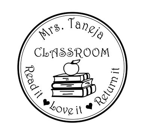 Personalized Teacher Stamp - Teacher From the Classroom Of Library, Book Stack, Apple Read it Love It Return It Personalized Name Round self ink stamp Personal Gift stamp