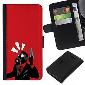 // PHONE CASE GIFT // Moda Estuche Funda de Cuero Billetera Tarjeta de crédito dinero bolsa Cubierta de proteccion Caso Sony Xperia M2 / Spy Psycho - B0Rderlands Tf Game Gaming /