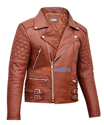 Leather Jacket Motorcycle Perfecto Vintage Brando Mens Motorbike Biker Classic dqgnwpE