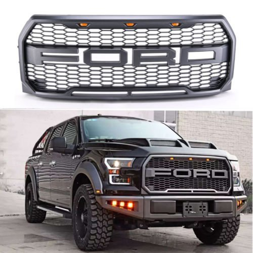 Achoc REPLACEMENT 2015 2016 2017 Matt Black Raptor style Grill Kit For F-150 Raptor Conversion Letter Grille With Amber LED Lights / Letters F&R