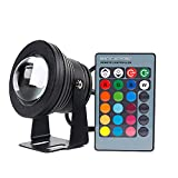 ellight RGB Foco LED, 10 W, 12 V, IP67 impermeable Luz sumergible con mando a distancia, Negro