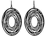 Boho Style Geometric Dangle Earrings - Oval Metal Cutout (Black)