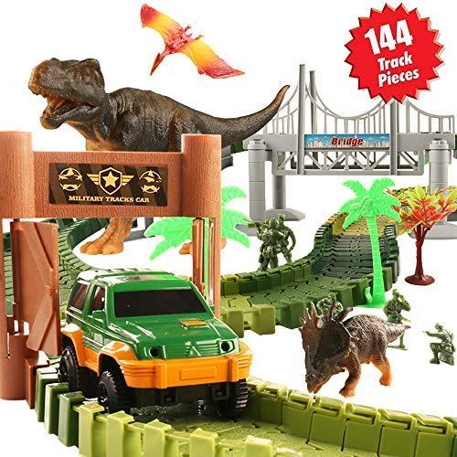 HQQNUO 恐竜玩具 トラック カーセット ジュラシックワールド 144ピース マジック トラック 5ソルジャー 3恐竜 1車両 吊り下げ 橋 トラック 車 おもちゃ 女の子 男の子